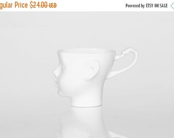 SALE Porcelain doll head mug - white artisan cup, for coffee or tea