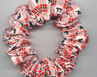 HALLOWEEN Scrunchie Tiny Black Witches Bats & Cats on Orange Black and White Checkerboard Cotton Fabric