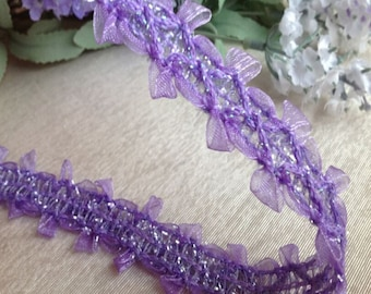 "10 yard 2.2cm 0.86"" wide purple ruffled tulle gauze braid tapes lace trim ribbon 33187 free ship"