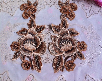 3pair 9x18cm wide brown peony embroidered clothes appliques patches 4370 free ship