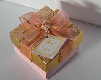 Pink and gold small gift box