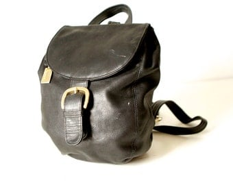 mini 90s black LEATHER backpack purse GOLD buckle sleek daypack