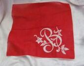 Solid Red Cotton Hankie Monogrammed B
