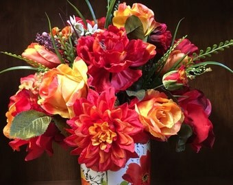 "Fall Elegant Peony Rose Mix Silk Floral Arrangement Modern Floral Pattern Ceramic Vase 18"" x 16"" Red & Orange"