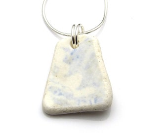 Blue and White Beach Pottery Necklace