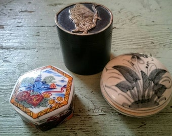 Three Boxes, Vintage Soapstone and Porcelain Boxes. Trinket Boxes. Small Boxes.  Handpainted Boxes.