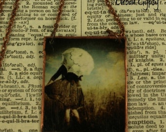 Woman In Rain Image Tag Necklace Handcrafted Pendant Necklace Urban Gypsy Necklace Indianapolis Shop