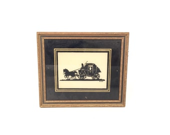 "Silhouette Reverse Painted Wall Hanging Entitled ""Honeymoon Departure"" by Reliance"
