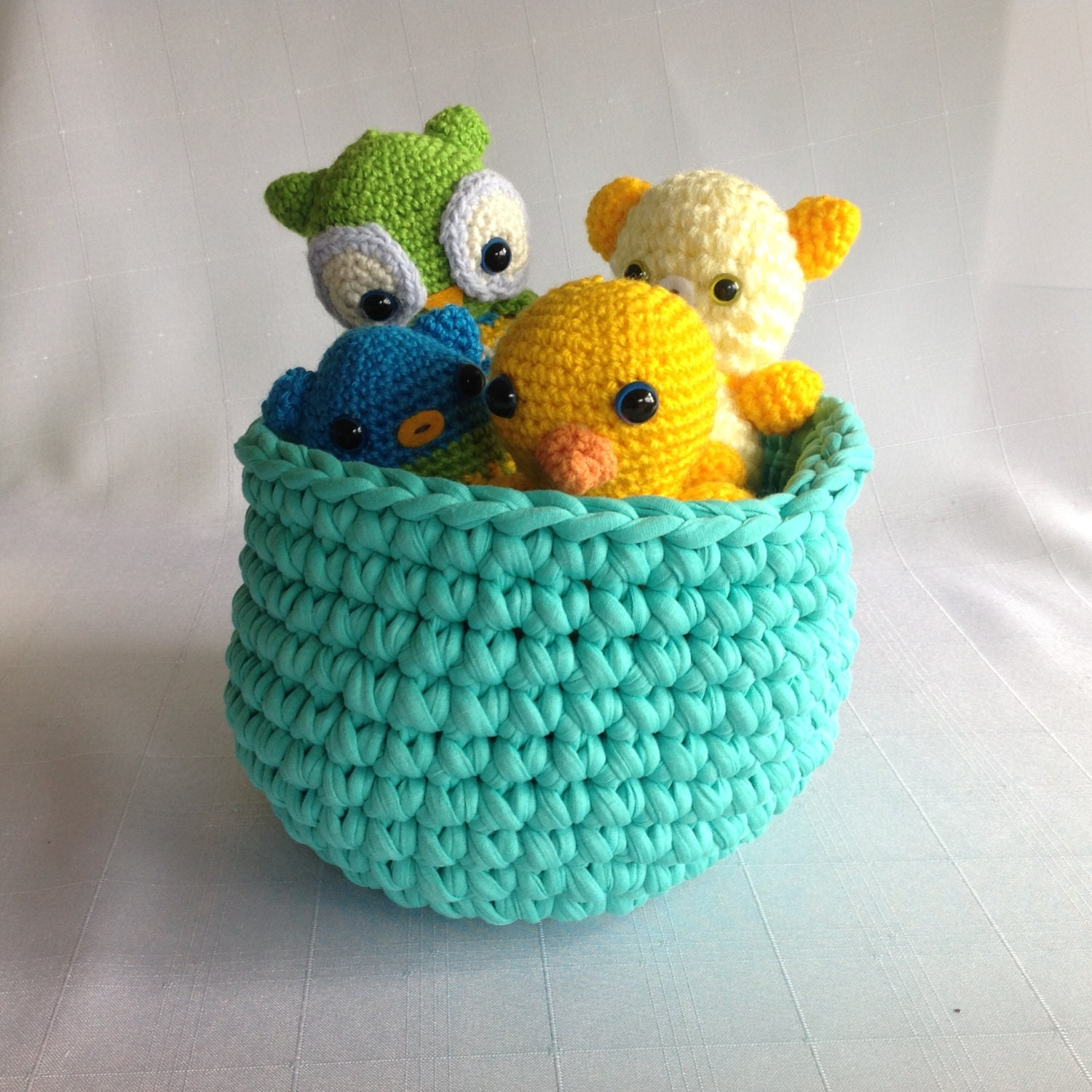 Small Crochet Teal Basket. Small Round Storage Bowl. Ideas