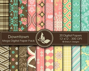 50% off Downtown Paper Pack - 20 Printable Digital papers - 12 x12 - 300 DPI