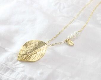 Modern Gold Leaf  Necklace - S2035-2