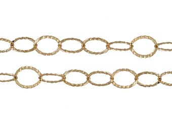 Gold Filled 8mm Diamond Cut and Flat Circle Chain - 5ft (2480-5)/1