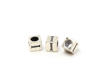 Alphabet Beads Sterling Silver 6mm Alphabet Blocks I - 1pc (3202)/1