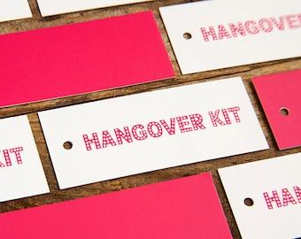Bachelorette Party Favors - Hangover Kit Hang Tags - SET OF 10
