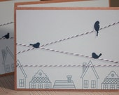Set of Three Handmade Birds On A Wire Blank Notecards Houses