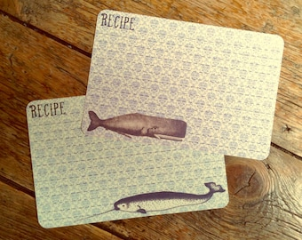 Vintage Style Narwhal & Whale Recipe Cards from Curious London