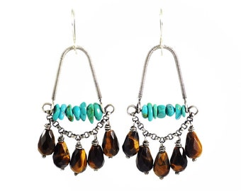Turquoise earrings | silver dangle earrings | statement fall earrings | unique dangly earrings in brown turquoise | christmas gift for her