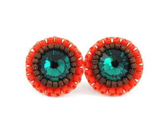 Emerald stud earrings • winter green stud earrings • emerald green orange stud earrings • unique fall autumn tiny stud earrings gift for her