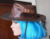 SALE 30% OFF - Embossed Leather Hippie Wanderer Hat