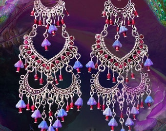 Red and Purple Tiered Bright Silver Belly Dance Chandelier Earrings, 4 Inch Long Earrings, Bohemian Gypsy Jewelry, Violet Flower Earrings