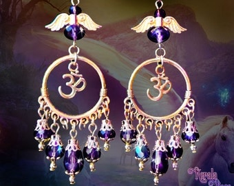 Amethyst Purple Crystal Om Earrings, Gold or Bronze, Guardian Angel Earrings, Aum Symbol Hindu Jewelry, Buddhist, Spiritual, Clip-On Option