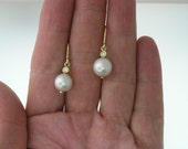 The Perfect PEARL (8.mm) and DIAMOND Drop EARRINGS in 14k Yellow Gold