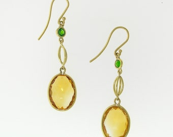 Citrine and Peridot DANGLE EARRINGS in 14k YELLOW Gold