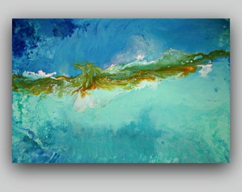 Bliss ~ Original Turquoise Aqua Blue Fluid Textured Abstract Painting, Contemporary Modern fine art by Alma  Large 36x24