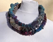 Felted necklace, fibre art, gift, blue, brown, turquoise, purple, felted slices