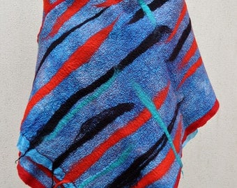 SALE - Beautiful shawl, felted scarf, silk, wool, felted, gift, fiber art, red, black, turquoise