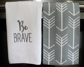 grey and white chevron monogrammed dish towel or by designsbythem. Black Bedroom Furniture Sets. Home Design Ideas