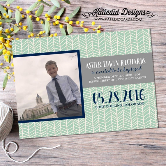 LDS baptism invitation christening mormon christening herringbone mint navy baby blessing 8 is great printable photo announcement item 713