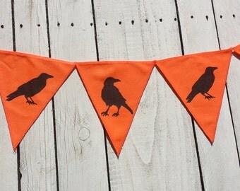 Crow bunting, halloween bunting, scary butning, orange bunting, halloween decoration,