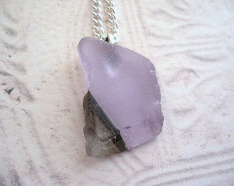 Scottish Sea Glass Necklace Rare Color Changing Purple to Blue Beach Glass Neodymium  Jewelry from Scotland