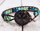 Boho Seaside Leather Wrap Bracelet with Blue Green Czech Beads and Flower Mandala Button/ Ocean Blue Water/ Free Shipping