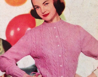 Classic Vintage 1950s Cardigan 2 Knitting Patterns S/M PDF download