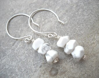 """White howlite sterling silver earrings: """"As I Pull the Pillars Down"""" - white stone earrings, stacked earrings, florence and the machine"""