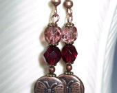 Women's Czech Glass Earrings, Czech Ruby Red with Czech Rose Tortoise and Copper Butterfly Coin Bead - Pink  Christmas Gift