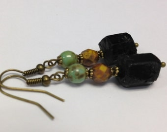 Black Tourmaline Earrings Czech Glass Picasso Druk Turquoise Bead Fire Polished Pumpkin Orange Picasso Fall Bronze Raw Metaphysical Healing