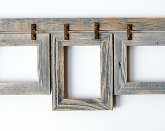 barnwood collage frame 3 5x7 multi opening frame rustic picture frame collage frame gray picture frame wood picture frame shabby chic