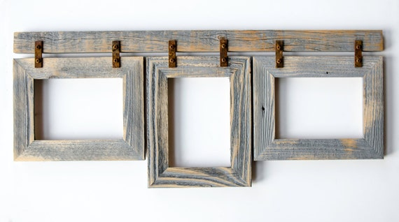 barnwood collage frame 3 5x7 multi opening frame rustic picture frame collage