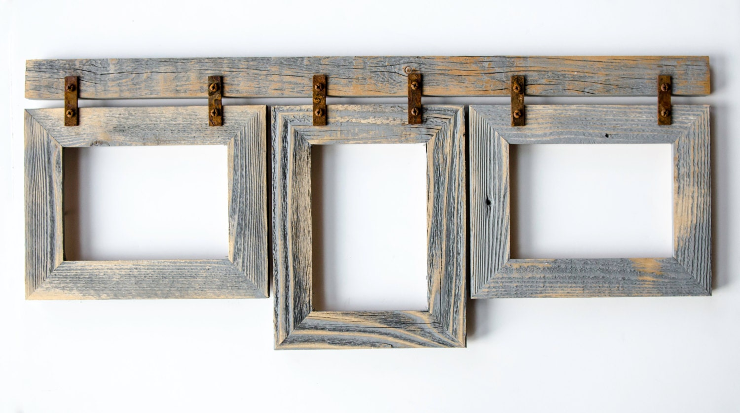 barnwood collage frame 3 5x7 multi opening frame rustic. Black Bedroom Furniture Sets. Home Design Ideas