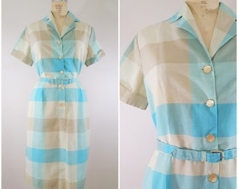 Vintage 1960s Dress / Blue Taupe Plaid / Cotton Shirtwaist Dress / Large