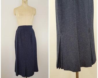 Vintage 1940s Wool Skirt / Blue / Pleated Kick Pleats / Small