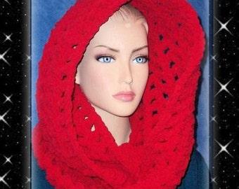 Crochet Infinity Scarf, Red Crochet Infinity Scarf, Red Chunky Infinity Scarf, Crochet, Chunky Crochet Scarf, Crochet Infinity, Winter Scarf