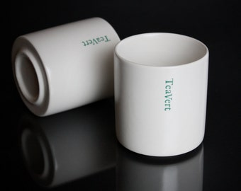 EAST/WEST Two White Ceramic Cups by TeaVert.