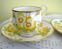 Vintage Royal Albert Trio Yellow Wild Rose Bone China Tea Cup Saucer Plate Trio Hand Painted Made in England
