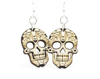 Blossom Sugar Skull Earrings - Wood Earrings