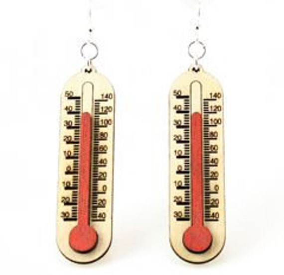 Thermometers - Its getting hot in here - Laser Cut Wood Earrings