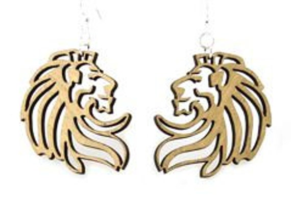 Lion Earrings - Made from Wood